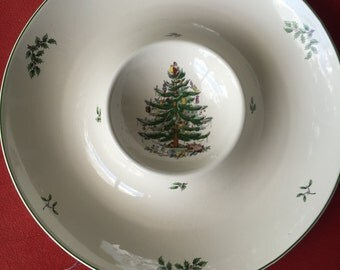 "Spode ""Christmas chip and dip bowl dish 14 1/8"""
