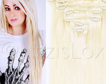 "20"" Clip-in #60 Light Blonde Human Hair Extensions 100% REMY 100 / 150 / 200 / 250 / 300 grams Platinum Blond"
