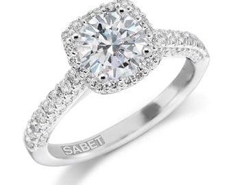 Forever One Moissanite Halo Engagement Ring 1.0ct Moissanite Ring .45ct Natural Diamond Vintage Filigree Halo Ring Pristine Custom rings