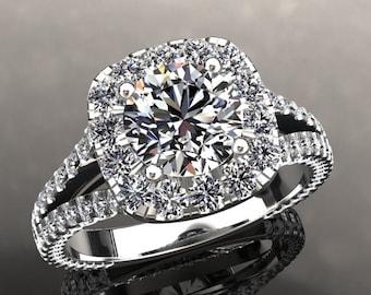 Moissanite & Diamond Engagement Ring 6.5mm Round Forever One Moissanite 1.70ct Moissanite Accents 14k Gold Wedding Anniversary Rings