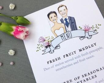 Caricature Wedding Breakfast Menu Sample