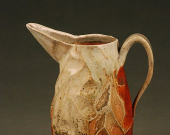 Randomly Faceted Wood Fired Pitcher