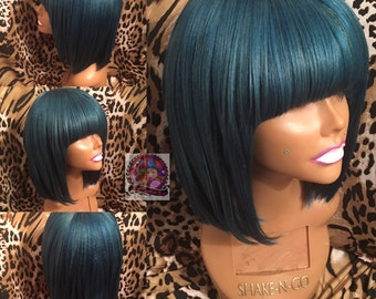 Blue Wig With Bangs