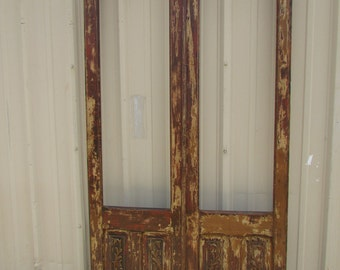 Antique Pair Mexican Old Doors #2-Primitive-Rustic-46x91-Weathered Patina-Architectural Element-French Doors-RED-Barn Doors