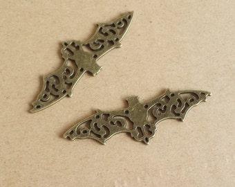 10 pcs 19x56mm Antique Bronze Lovely Filigree Bat Charm Pendant , Halloween Charms   ABO031