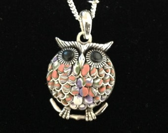 Polymer clay and antique silver plate owl on silver chain purple orange green white