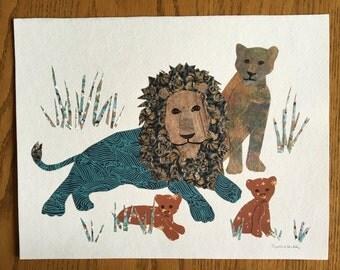 Lion Family, 11x14 Original Wall Art, Lion Art, cut paper art, whimsical art, baby gift, childrens room art, lion cubs, african art, safari