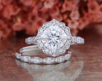 Forever One Moissanite Engagement Ring and Scalloped Diamond Wedding Band Bridal Set 14k White Gold 8x8mm Cushion Moissanite Gemstone Ring