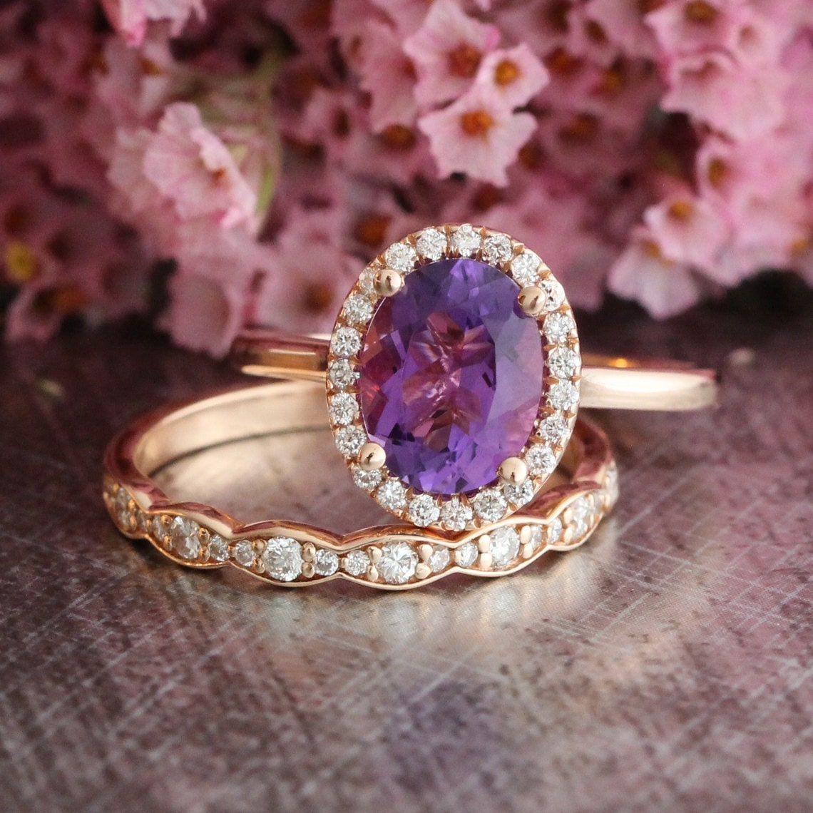 Halo diamond amethyst engagement ring and scalloped diamond for Amethyst diamond wedding ring set