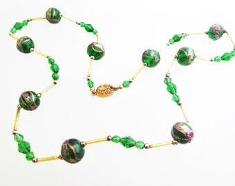 Vintage Venetian Muranao Green Wedding Cake Fiorato Bead Necklace