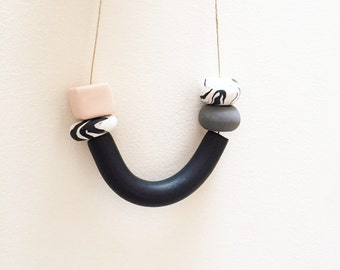 Black Pendant + Beaded Clay Necklace