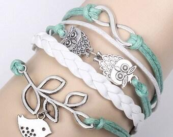 Vintage Style Bracelet, Bird Bracelet, Owl Bracelet, Silver Bracelet