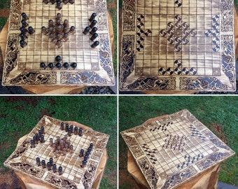 """Hnefatafl: """"Tawlbwrdd"""" - Welsh variant of the Viking strategy game Tafl (Nefatavl, King's Table) handcrafted & customizable - MADE TO ORDER"""