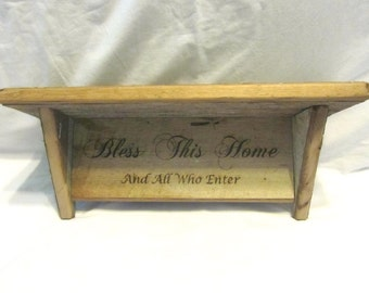 Vintage Reclaimed Barnwood Shelf - Bless This Home