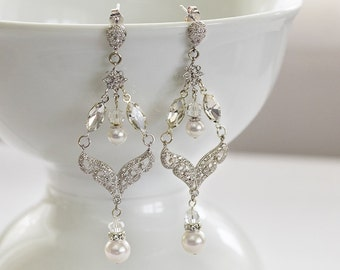 Bridal Earrings, Wedding Earrings, Rhinestone Earrings - Charlotte
