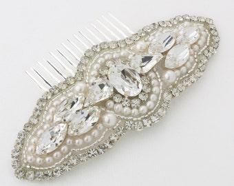 Sale 20% off - Crystal, Pearl and Rhinestone Bridal comb, Bridal Headpiece, Wedding Accessories, Avery, Wedding Headpiece