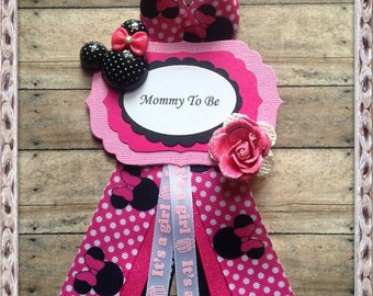 Pink & Hot Pink Polka Dots Mommy To Be Baby Shower Corsage Minnie Mouse Theme Baby Shower