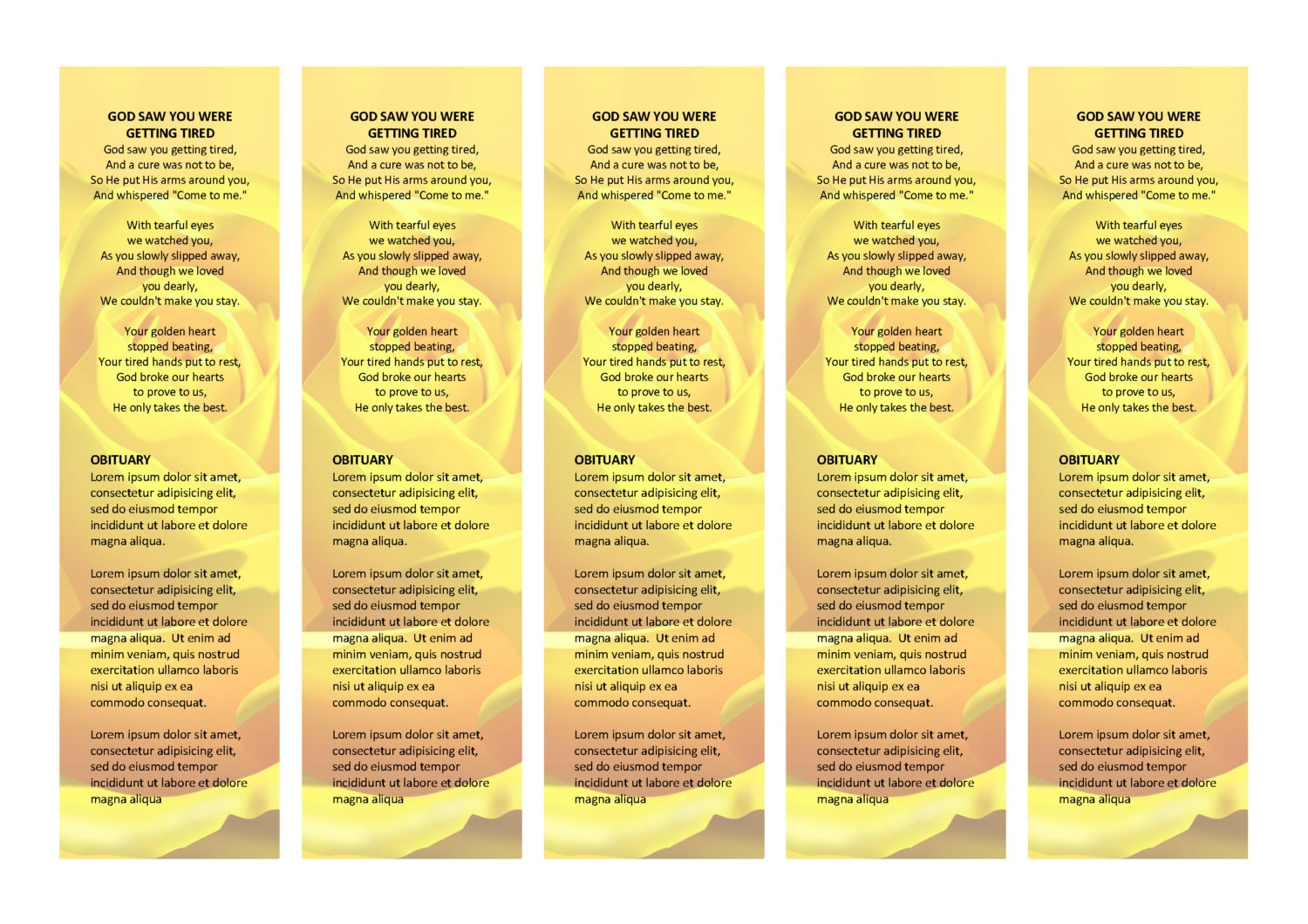 the amazing yellow rose bookmark      matching printable bookmark template  microsoft word document