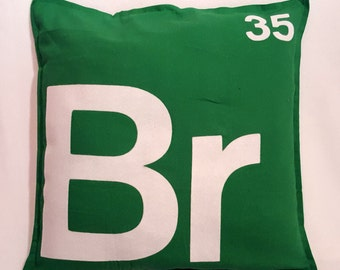"Periodic table pillow cover Breaking Bad inspired - 20 x 20"" with zip, 100% cotton"