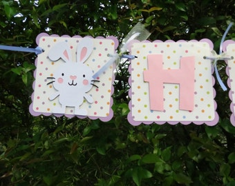 "Easter Bunny -  ""Hoppy Birthday"" Banner - Lavender, Polkadot, and Pink"