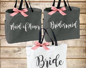Personalized Bridal Tote Bag, Bridesmaid Tote Bag, Maid of Honor Tote Bag, Monogrammed Tote Bag (BR002)