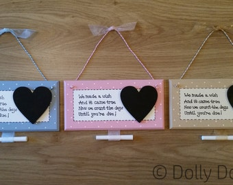 New Baby Pregnancy Countdown Plaque Chalkboard Handmade Gift Present Shabby Chic Maternity Sign