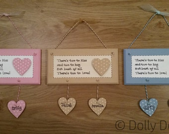 Personalised Siblings New Baby Plaque Handmade Gift Present Sign Twins Grandparents Two Children