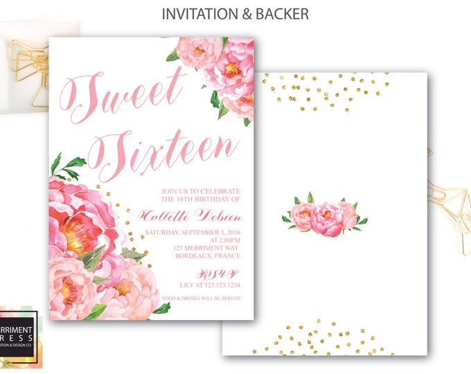 Sweet Sixteen Invitation // Birthday Invitation // Sweet 16 // Sixteenth // Flowers // Peony // Pink // Gold Glitter // BORDEAUX COLLECTION
