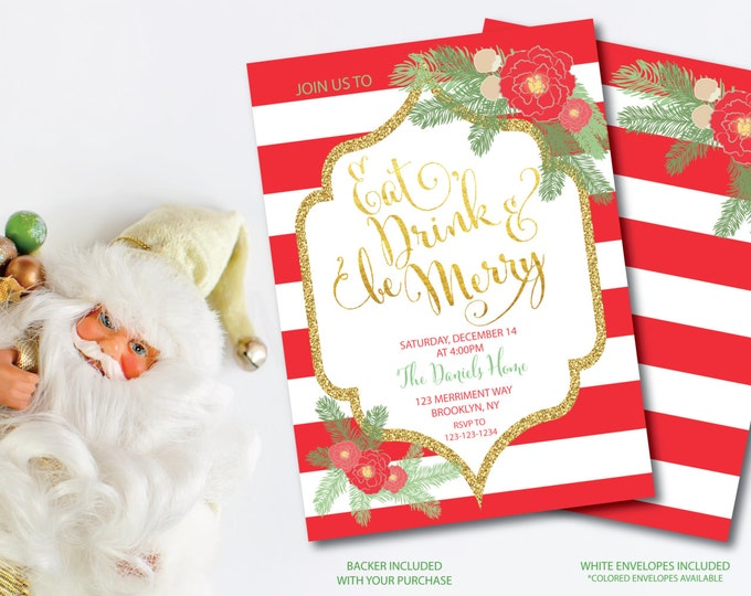 Christmas Party Invitation Christmas Party Red Stripes Striped Printable Faux Gold Foil Glitter Eat Drink Glitter - Holiday Collection