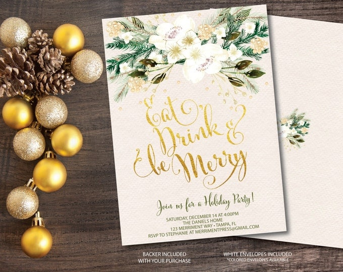 Christmas Party Invitation Holiday Printable Faux Gold Foil Eat Drink Be Merry Holiday Watercolor White Gold Glitter - Holiday Collection