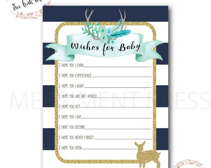 Wishes for Baby // Oh Deer // Fawn // Advice  Card // Navy // Blue // Gold Glitter // Woodland // Instant Download // OXFORD COLLECTION