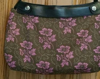 PS 005 Brown Pink Floral Design Suite Skirt COVER ONLY for the 31 Suite Skirt Purse Handmade
