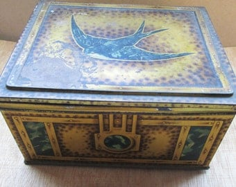Vintage Harry Vincent Blue Bird Toffees Tin, Storage Box, Cache Box