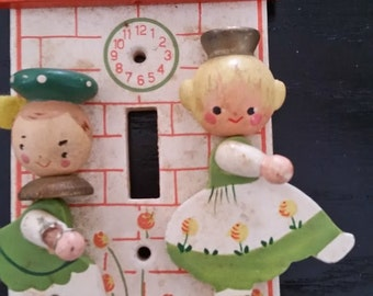 Vintage Nursery or Childs Wooden Switch Plate