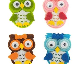 Owl Felt Animals, 2-inch, 12-piece