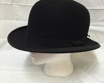 Lamson & Hubbard (Boston) Black Bowler Hat.  Made for F. N. Conant in Massachusetts. Men's derby, size 7-1/8.  Antique, 1890s Victorian.