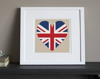 Cross Stitch Pattern - United Kingdom Heart Flag - Instant Download