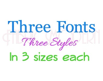 THREE FONTS BX Embroidery Font Design, three sizes for each, upper and lower case and numbers for each, #557