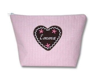 Bags with gingerbread heart and name, nappy bag