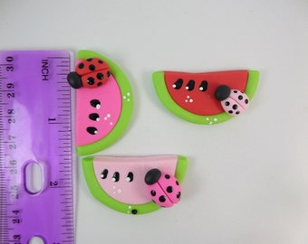 Watermelon with bug.  Clay Charm Bead, Scrapbooking, Bow Center, Pendant.
