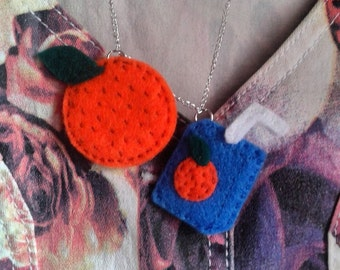 Orange and juicebox felt necklace