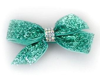 Mini Green Swarovski Crystallized Bow