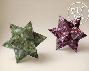 Printbare DIY kit Papieren kerststerren. DIY Kerstdecoratie. Eenvoudig te maken Ornamenten download