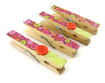 Decorative Clothespin Magnets, Set of 4, Magnetic Clips, Refrigerator, Magnet Clips, Strong Magnets, Buttons, Red, Green