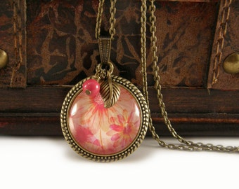 Orange and Pink Floral Necklace, Vintage Style Necklace, Bronze, Necklace with Beads, Charms, Flower, Floral Jewelry, Pendant, Victorian