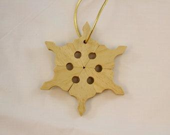 White  Mahogany Snowflake Ornament
