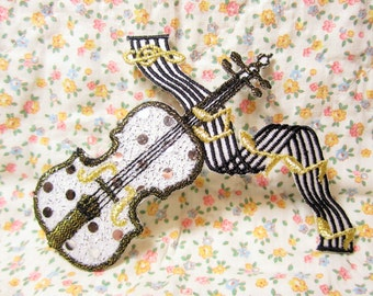 Violin Patch, Fiddle Iron On, Musical Note, Band Camp, Orchestra, Craft, Embroidered Applique, Musician, Celtic Folk Badge, Band Geek