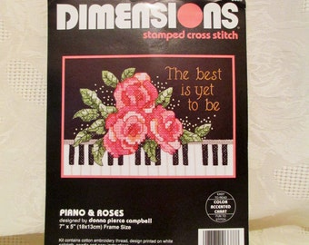 Piano & Roses, Stamped Cross Stitch Kit, Vintage Dimensions Kit, Piano Keys, Pink Roses, The Best Is Yet To Come, Needlepoint Embroidery Kit