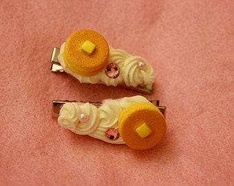 Kawaii Decoden Decora Fairy Kei Pancake Hair Clips with Pearls and Rhinestones (pair)