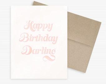 Happy Birthday Darling Card, Eco-friendly Birthday Card, Hand Lettering